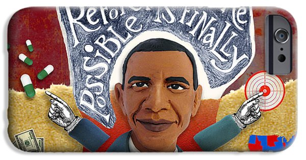 Barack Obama Mixed Media iPhone Cases - Obama iPhone Case by Sylvie PERRIN