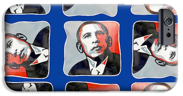 Potus iPhone Cases - Obama Vacillating Perspectives iPhone Case by Nicholas Romano