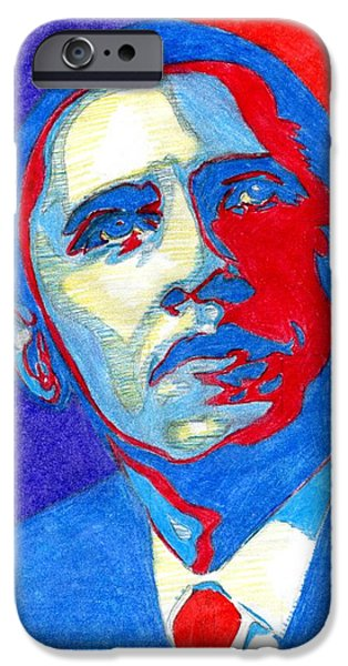 President Obama Drawings iPhone Cases - Obey Obama iPhone Case by Ricky Lozano