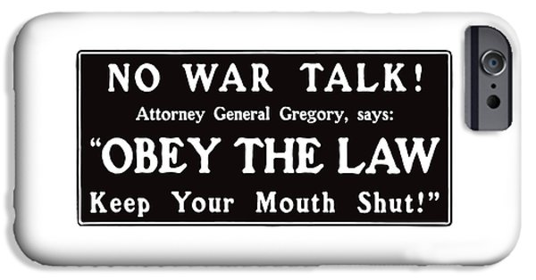 Lips Mixed Media iPhone Cases - Obey The Law Keep Your Mouth Shut iPhone Case by War Is Hell Store