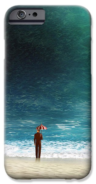 Waves Digital Art iPhone Cases - Oblivious iPhone Case by Cynthia Decker