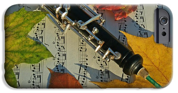 Sheets Photographs iPhone Cases - Oboe and Sheet Music on Autumn Afternoon iPhone Case by Anna Lisa Yoder