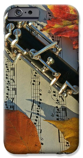 Oboe and Sheet Music on Autumn Afternoon iPhone Case by Anna Lisa Yoder