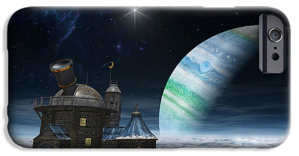 Science Fiction Digital Art iPhone Cases - Observatory iPhone Case by Cynthia Decker