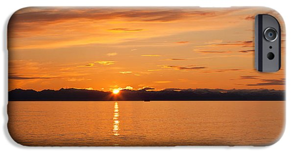 Ocean Sunset iPhone Cases - Ocean At Sunset, Inside Passage iPhone Case by Panoramic Images