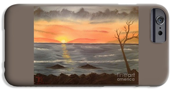 Bob Ross Paintings iPhone Cases - Ocean at Sunset iPhone Case by Tim Blankenship