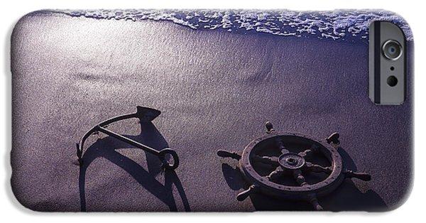 Wooden Ship iPhone Cases - Ocean Beach Anchor iPhone Case by Garry Gay