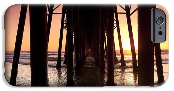 Sunset Framed Prints iPhone Cases - Oceanside Pier Tunnel iPhone Case by Sean Davey