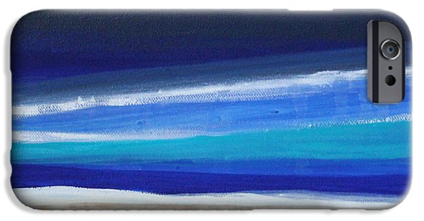 Abstract Lines iPhone Cases - Ocean Blue iPhone Case by Linda Woods
