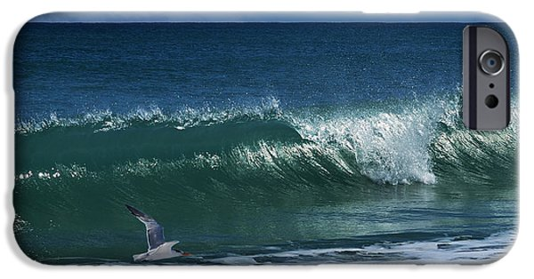 Flying Seagull iPhone Cases - Ocean Blue Morning iPhone Case by Laura  Fasulo