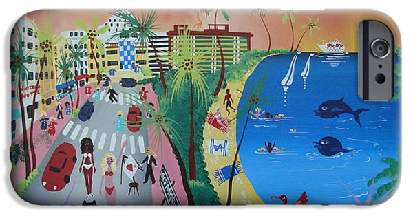 Miami Photographs iPhone Cases - Ocean Drive, Miami Beach, 2010-12 Acrylic On Canvas iPhone Case by Herbert Hofer