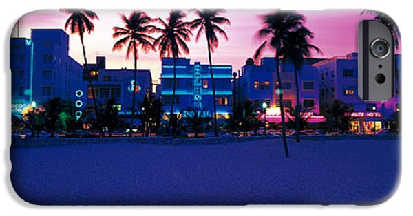 Fl iPhone Cases - Ocean Drive Miami Beach Fl Usa iPhone Case by Panoramic Images