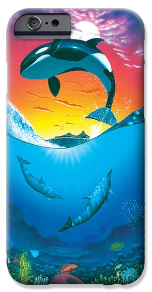 Dolphin iPhone Cases - Ocean Freedom iPhone Case by MGL Studio - Chris Hiett