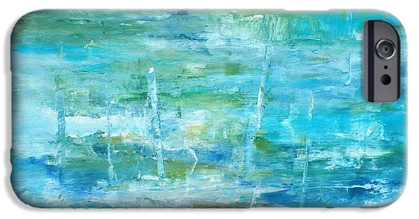Pallet Knife Paintings iPhone Cases - Ocean I iPhone Case by Tia Marie McDermid