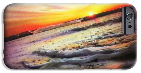 Rays Paintings iPhone Cases - Ocean Infinity iPhone Case by Christian Chapman Art
