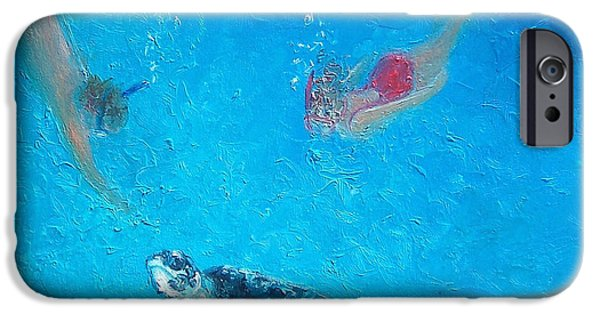 Ocean Turtle Paintings iPhone Cases - Ocean Painting - Diving with Turtle iPhone Case by Jan Matson
