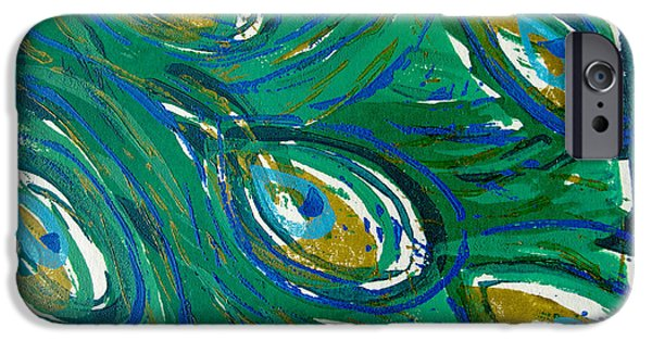 Printmaking Paintings iPhone Cases - Ocean Peacock iPhone Case by Jennifer Schwab
