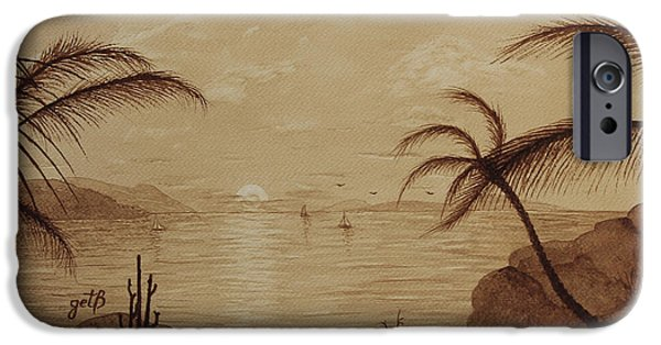 Ocean Sunset iPhone Cases - Ocean Rocky Coast Sunset Original Coffee Painting iPhone Case by Georgeta Blanaru