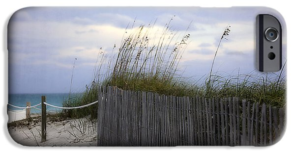 Sand Fences iPhone Cases - Ocean View 2 - Miami Beach - Florida iPhone Case by Madeline Ellis