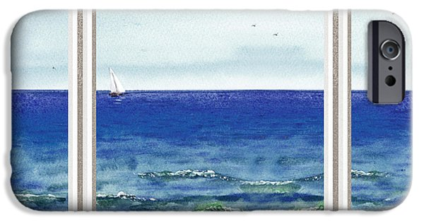 Cold Paintings iPhone Cases - Ocean View Window iPhone Case by Irina Sztukowski