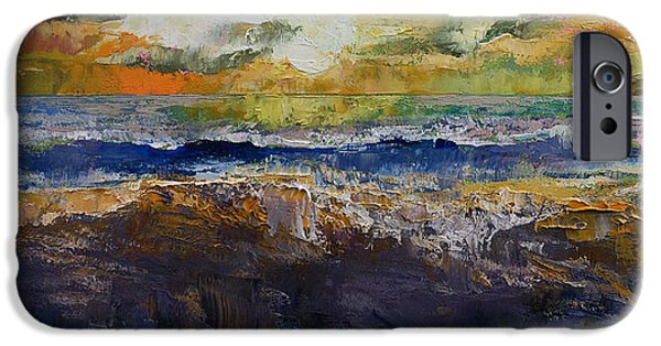 Michael Paintings iPhone Cases - Ocean Waves iPhone Case by Michael Creese