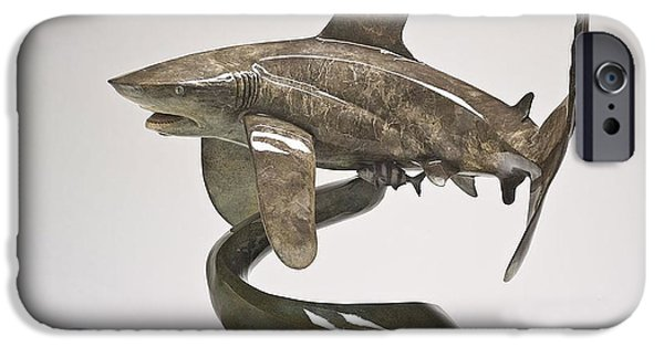 Shark Sculptures iPhone Cases - Oceanic Whitetip iPhone Case by Victor Douieb