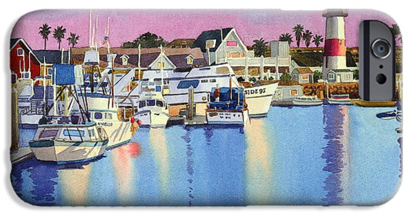 Fishing Boat iPhone Cases - Oceanside Harbor at Dusk iPhone Case by Mary Helmreich
