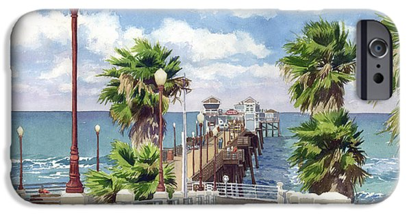 Palm Tree iPhone Cases - Oceanside Pier iPhone Case by Mary Helmreich
