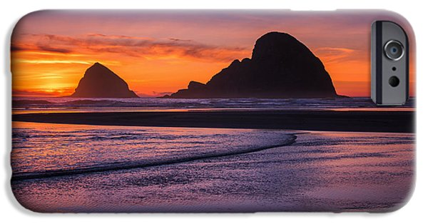 Oregon Coast iPhone Cases - Oceanside Sunset iPhone Case by Darren  White