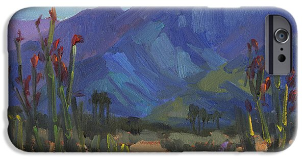Plein Air iPhone Cases - Ocotillos at Smoke Tree Ranch iPhone Case by Diane McClary