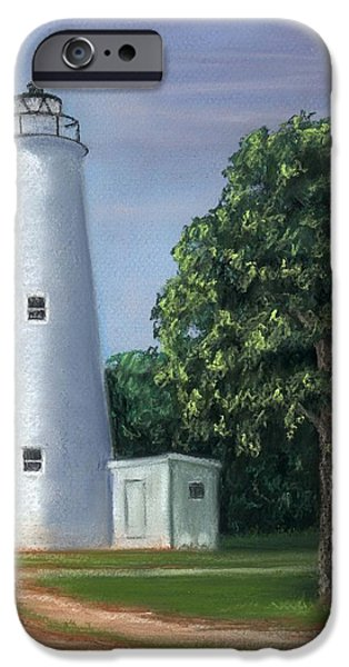 Lighthouse Pastels iPhone Cases - Ocracoke Lighthouse iPhone Case by Kathryn Foster