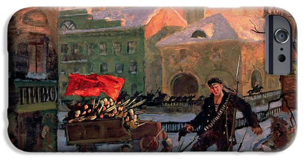 October iPhone Cases - October 1917 In Petrograd Oil On Canvas iPhone Case by Boris Mihajlovic Kustodiev