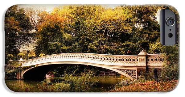 Bow Bridge iPhone Cases - October at Bow Bridge iPhone Case by Jessica Jenney