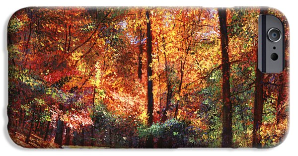 Road Paintings iPhone Cases - October Colors iPhone Case by David Lloyd Glover