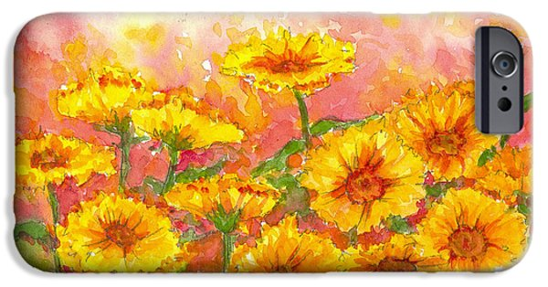 Flora Drawings iPhone Cases - October Marigolds iPhone Case by Cathie Richardson