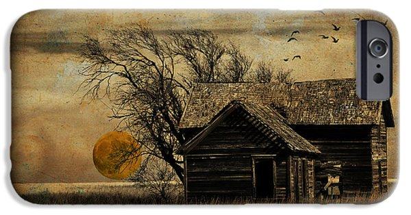 Eerie iPhone Cases - October Moon iPhone Case by Karen Slagle