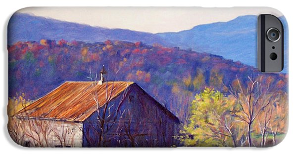 Old Barns iPhone Cases - October Morning iPhone Case by Bonnie Mason
