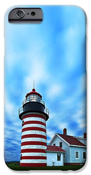 West Quoddy Head Lighthouse iPhone Cases - October Sky at Quoddy Head iPhone Case by Bill Caldwell -        ABeautifulSky Photography