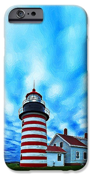 West Quoddy Head Lighthouse iPhone Cases - October Sky at Quoddy Head Enhanced iPhone Case by Bill Caldwell -        ABeautifulSky Photography