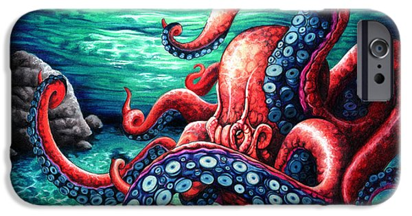 Red Rock iPhone Cases - Octopus iPhone Case by Hauvonna  Godoy