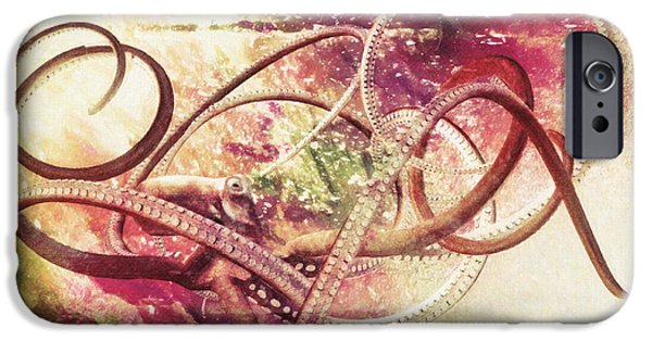 Colored Pencil Abstract Drawings iPhone Cases - Octopus iPhone Case by Taylan Soyturk