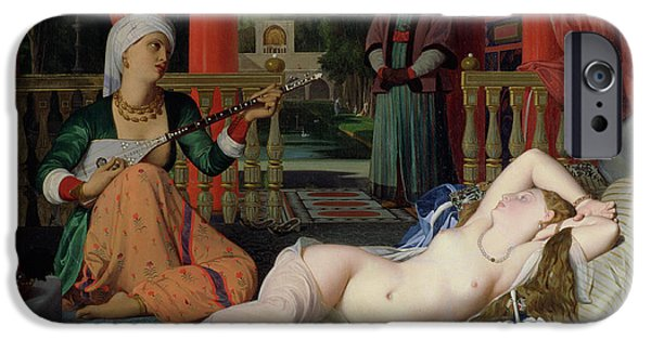 Odalisque iPhone Cases - Odalisque with Slave iPhone Case by Ingres