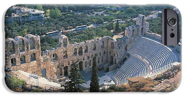 Athens Ruins iPhone Cases - Odeon Tu Herodu Attku The Acropolis iPhone Case by Panoramic Images