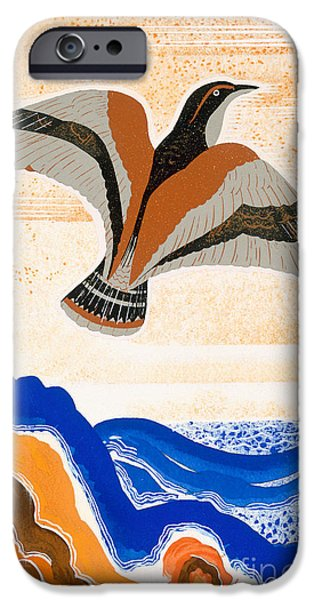 Sea Birds iPhone Cases - Odyssey illustration  Bird of Potent iPhone Case by Francois-Louis Schmied