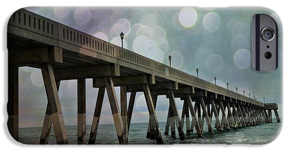 Ocean Art Photography iPhone Cases - Oean Pier - Surreal Stormy Blue Pier Beach Ocean Fishing Pier With Bokeh iPhone Case by Kathy Fornal