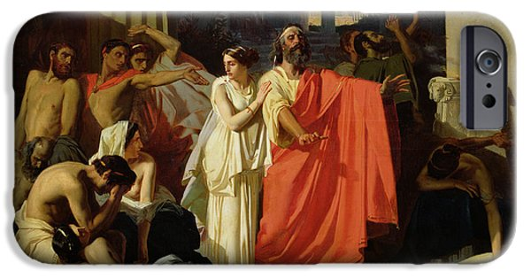 Thebes iPhone Cases - Oedipus And Antigone Being Exiled To Thebes, 1843 Oil On Canvas iPhone Case by Ernest Hillemacher