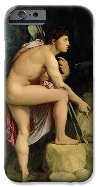 Thebes iPhone Cases - Oedipus and the Sphinx iPhone Case by Ingres