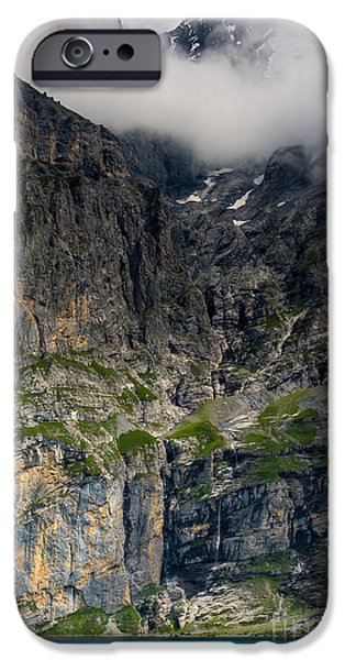 Swiss Horn iPhone Cases - Oeschinensee Mountain - Bernese Alps - Switzerland iPhone Case by Gary Whitton