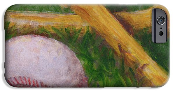 Softball Paintings iPhone Cases - Of the Game iPhone Case by Josh Hertzenberg