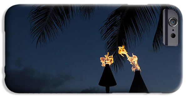 Night Lamp iPhone Cases - Of Tiki Torches Palm Trees and Beach Parties iPhone Case by Georgia Mizuleva